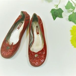 Ecco Red Patent Leather Slip on Ballet Flats
